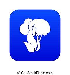 Burning forest trees icon digital blue