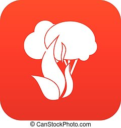 Burning forest trees icon digital red