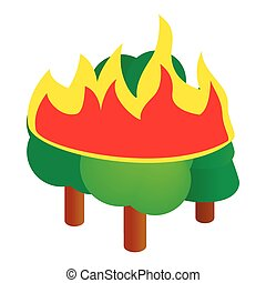 Burning forest trees icon, isometric 3d style