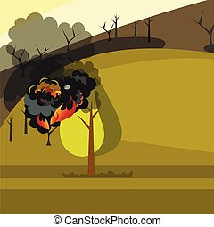 Burning forest trees in fire flames. Vector Illustration.