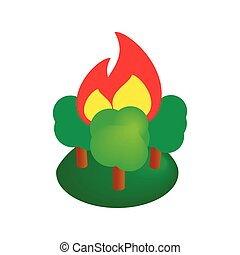 Burning forest trees isometric 3d icon