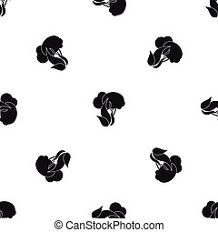 Burning forest trees pattern seamless black