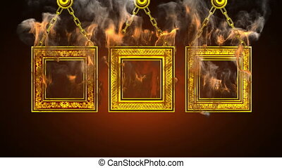 burning frames. Alpha matted