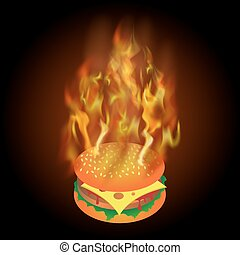 Burning Fresh Hamburger with Fire Flame
