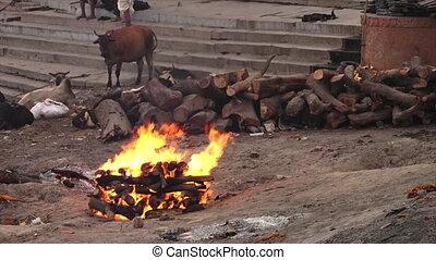 Burning Funeral Pyre at Ganga River, India - Medium...
