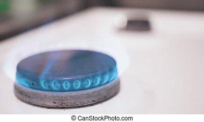 Burning gas burner close up