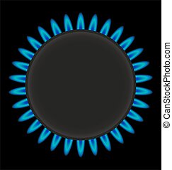burning gas ring stove vector illustration isolated on white...