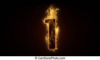 burning, getal, wi, een, vurig, lus