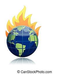 burning globe illustration design icon