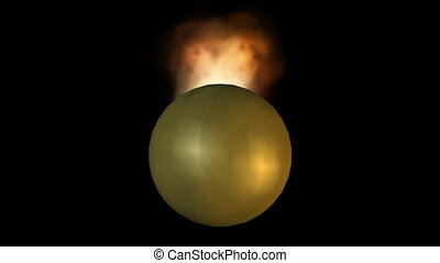 Burning gold balls, explosion, flying particles, abstract video on black background