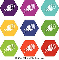Burning golf ball icon set color hexahedron