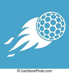 Burning golf ball icon white