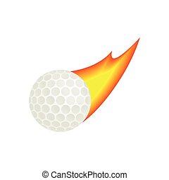Burning golf ball isometric 3d icon