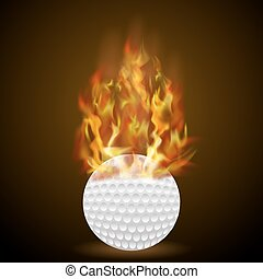 Burning Golf Ball with Fire Flame