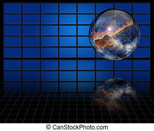 Burning Guitar inside crystal sphere before screens