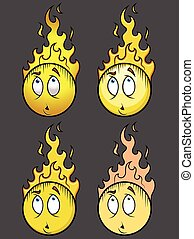 Burning Head Smiley Set