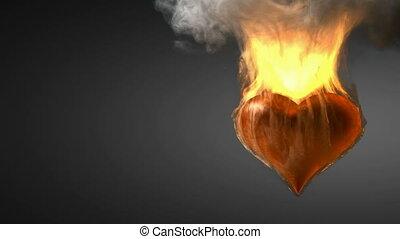burning heart. Alpha matted