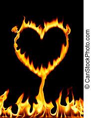 burning heart - burning fire form a heart shape, studio shot