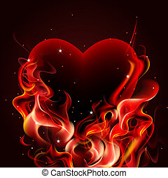 Burning heart. - Burning heart on dark background.