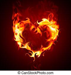 burning heart - heart on fire