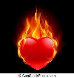 Burning Heart. Illustration for design on black background