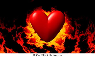 Burning heart in fire seamless loop video
