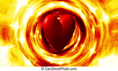 Burning heart in fire tunnel loop