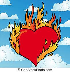 Burning heart on sky