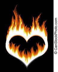 burning heart over the black background