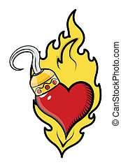 Burning Heart with Pirate Hook