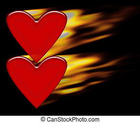 Burning hearts background