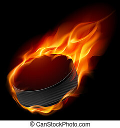 Burning hockey puck. Illustration for design on black...
