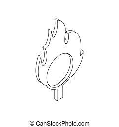 Burning hoop icon, isometric 3d