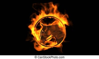burning horse sign with flame.