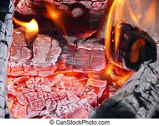 Burning hot coals
