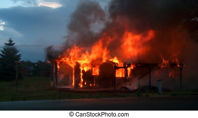 Burning House 8 - House burns to ground in segments