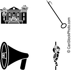 Burning house, hook, megaphone, fire. Fire department set collection icons in black style vector symbol stock illustration web.