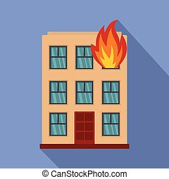 Burning house icon, flat style - Burning house icon. Flat...