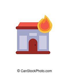Burning house icon on a white background. Vector illustration.