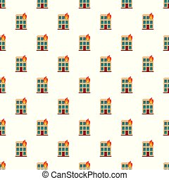Burning house pattern seamless vector