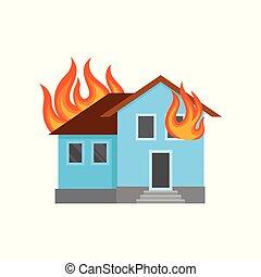 Burning house vector Illustration on a white background