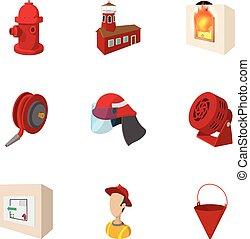 Burning icons set, cartoon style