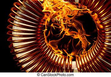 burning inductor coil in black back