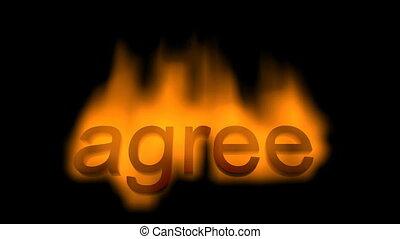 burning inscription agree on black