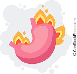 Burning isolated stomach. Heartburn concept. Vector flat cartoon graphic design illustration