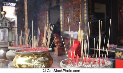 Burning Joss Sticks in Temple 1080p - Burning Incense Joss...
