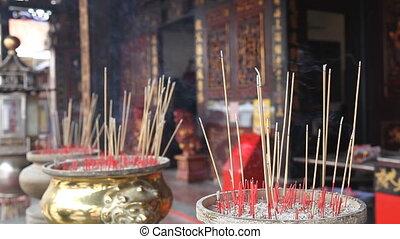 Burning Joss Sticks in Temple 1080p - Burning Incense Joss...