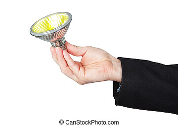 Burning lamp in his hand. On a white background.