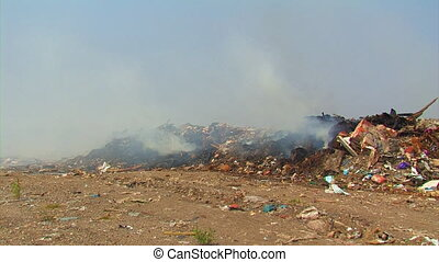 Burning landfill.