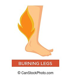 Burning legs symptom with inflamed feet